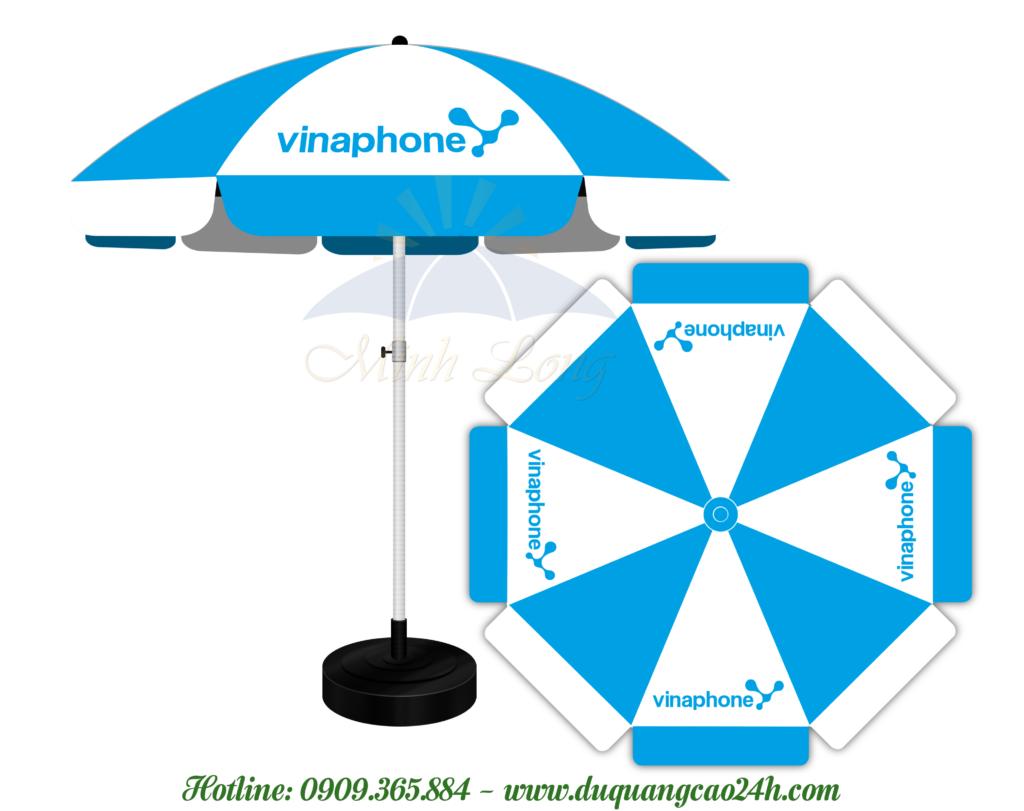 Dù quảng cáo ở Vĩnh Long - mẫu dù quảng cáo thương hiệu Vinaphone